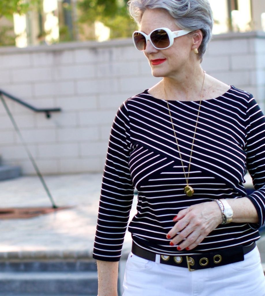 stripes tee and white denim
