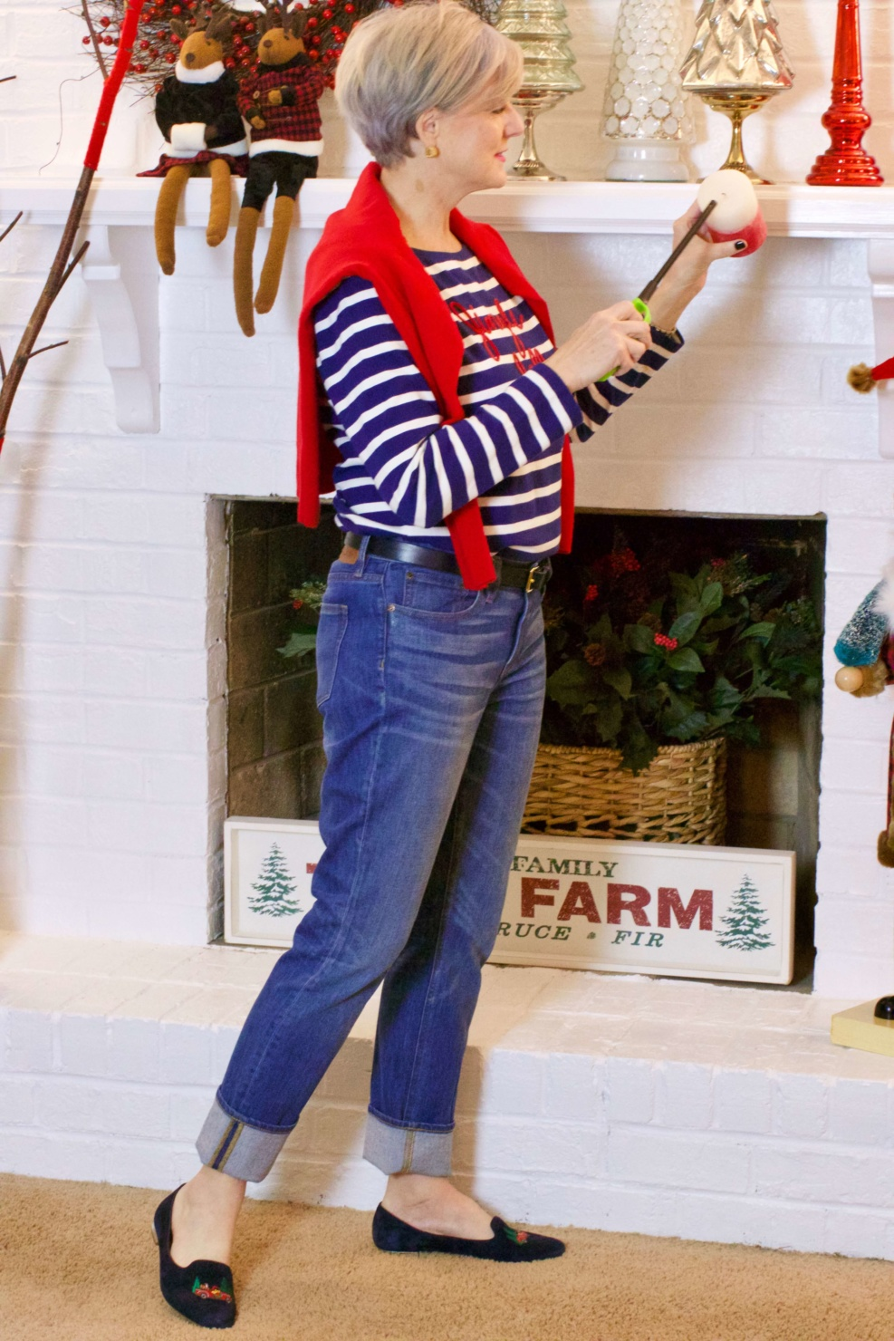 beth from Style at a Certain Age wears a Talbots jingle belle striped tee, J.Crew jeans, and embroidered smoking slippers