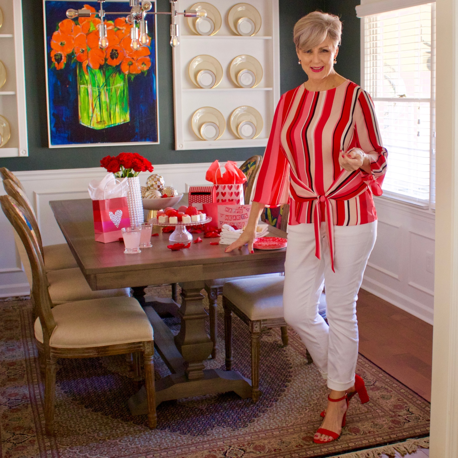beth from Style at a Certain Age wears a striped blouse from the Love Now Wear Now collection from JCP
