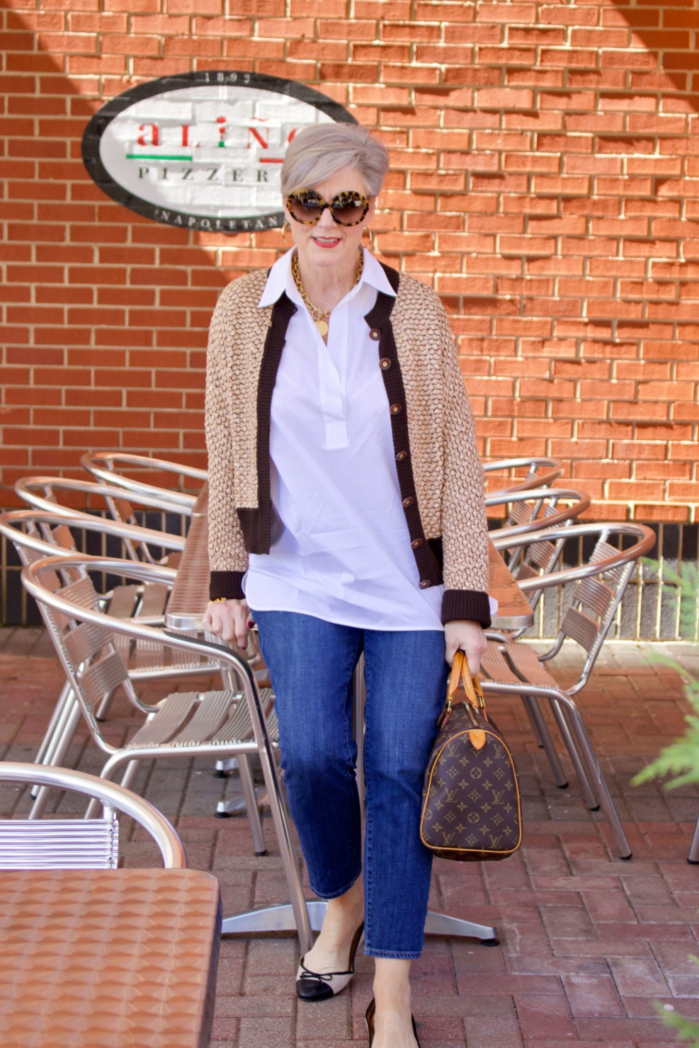 beth from Style at a Certain goes shopping wearing a Lafayette 148 white shirt, St. John Sport sweater, girlfriend jeans, and ballet flats
